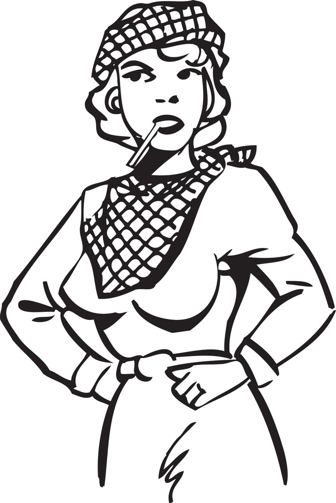 Illustration Of A Retro Lady With Cigarette.