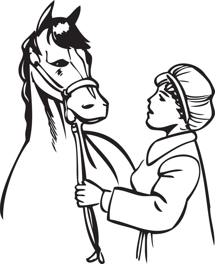 Illustration Of A Retro Lady With Horse.