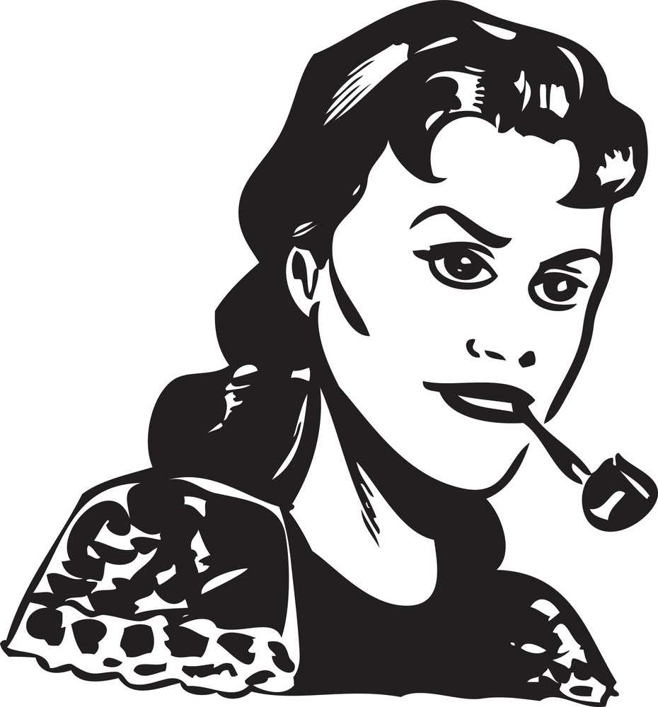 Illustration Of A Retro Lady With Tobacco Pipe.