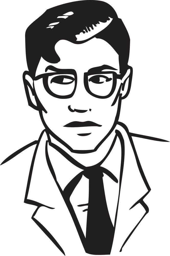 Illustration Of A Retro Man With Glasses.