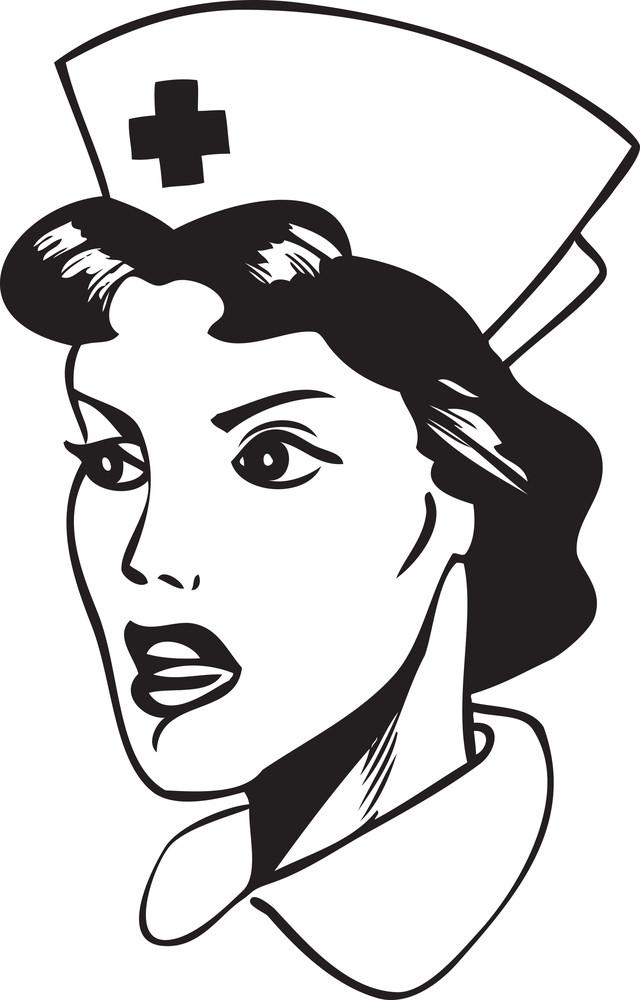 Illustration Of A Retro Nurse Face.