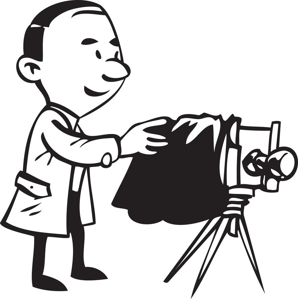 Illustration Of A Retro Photographer.