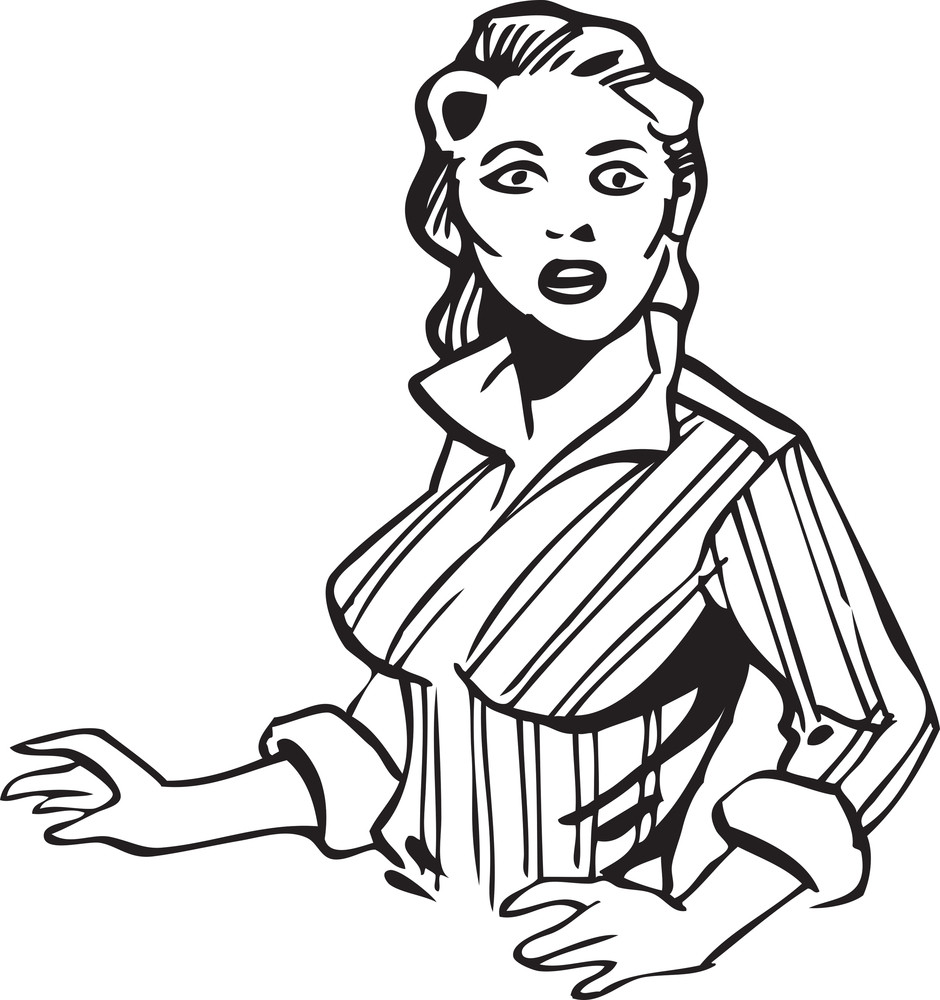 Illustration Of A Retro Shocking Girl.