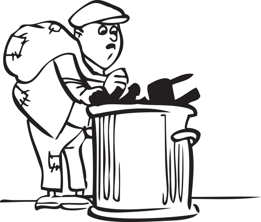 Illustration Of A Rubbish Man.