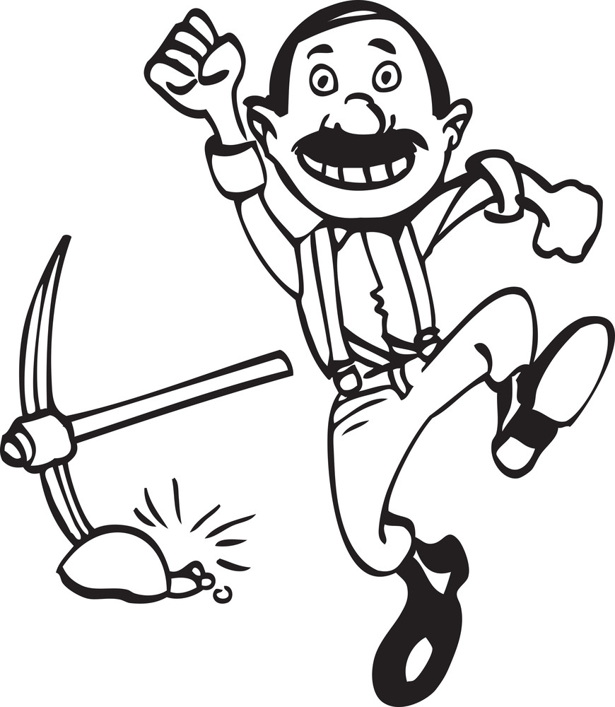 Illustration Of A Running Man And Pickaxe.