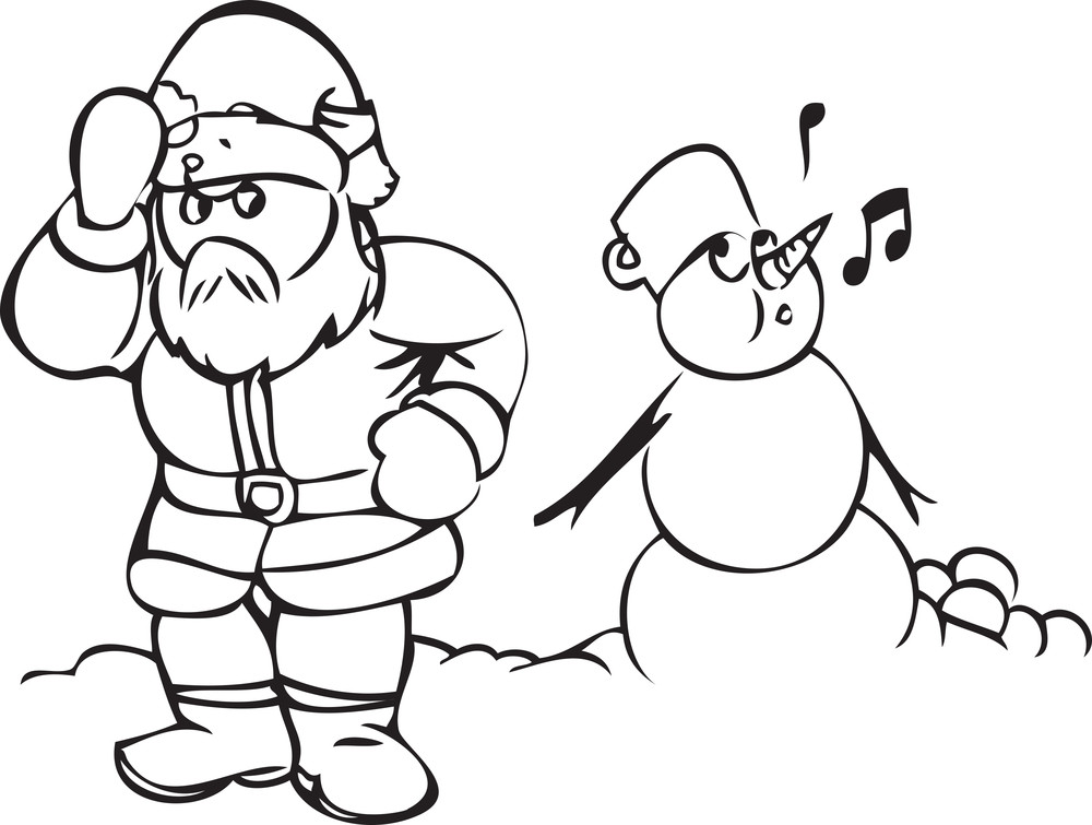 Illustration Of A Santa Claus With Snow Man.