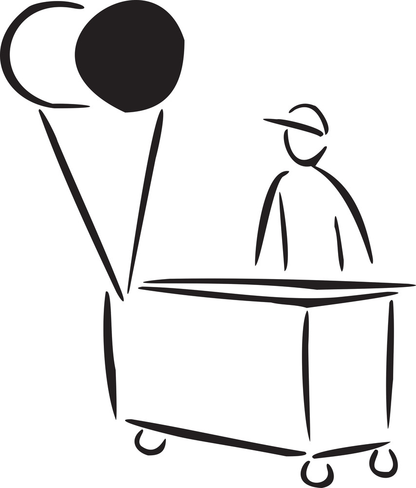 Illustration Of A Seller With Cart.