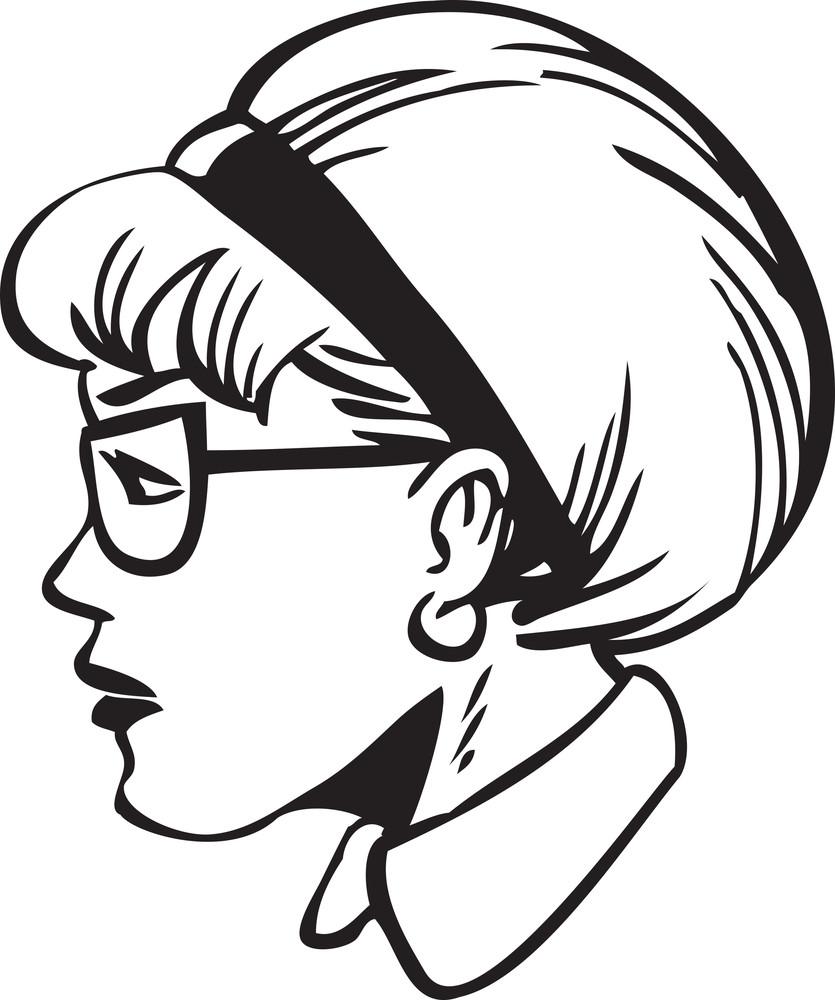 Illustration Of A Side Profile Lady.