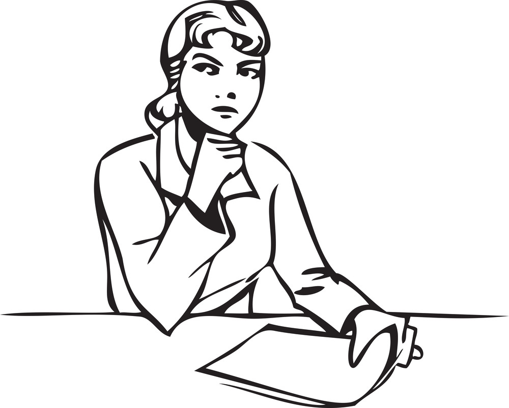 Illustration Of A Sitting Lady With A Paper.