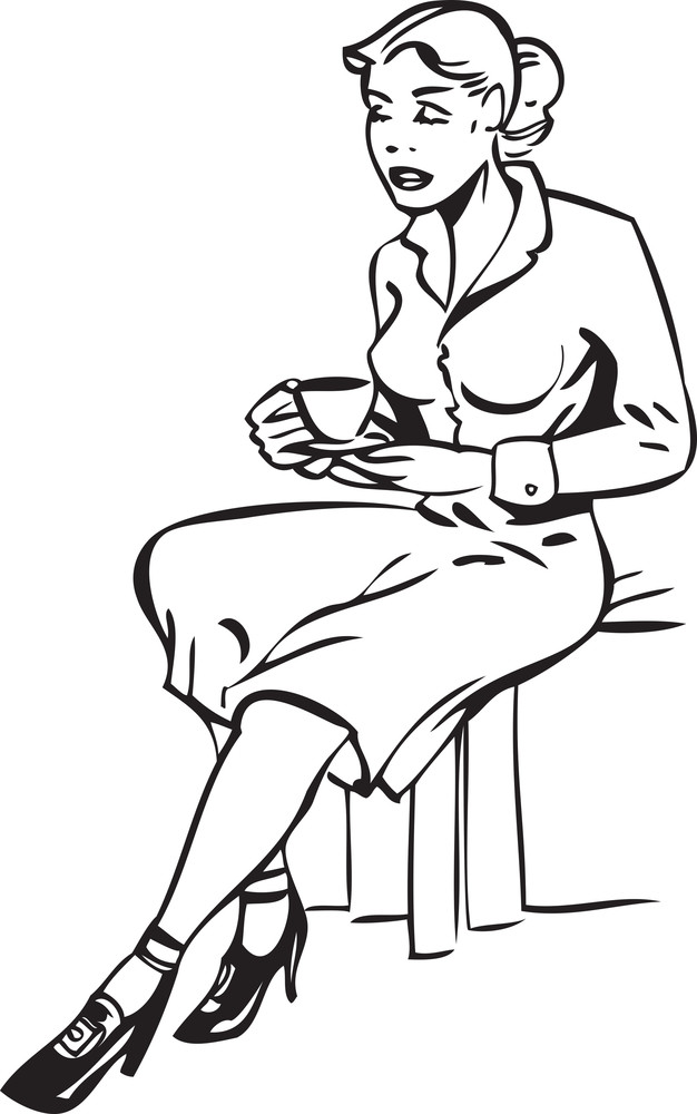 Illustration Of A Sitting Lady With Cup Of Tea.