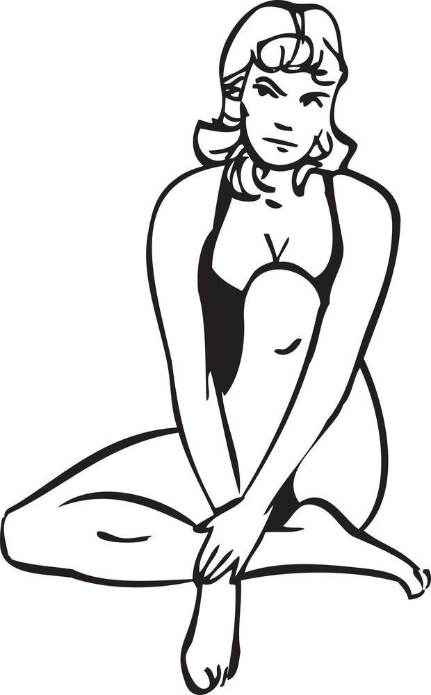 Illustration Of A Sitting Lady.