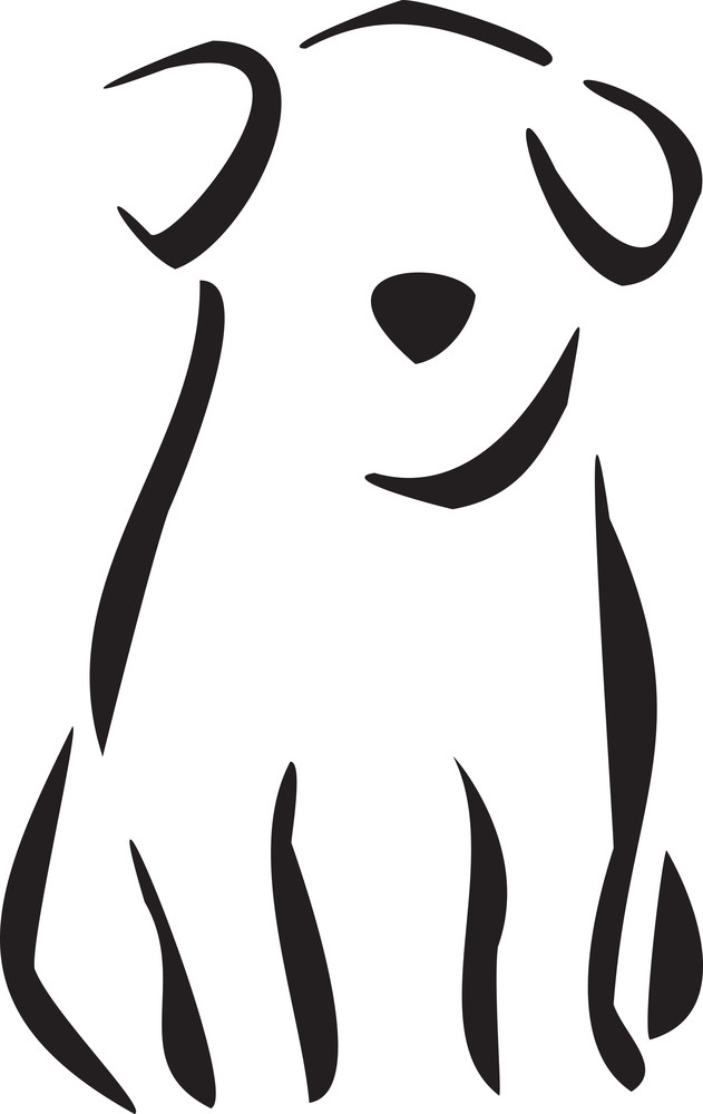 Illustration Of A Sitting Puppy.