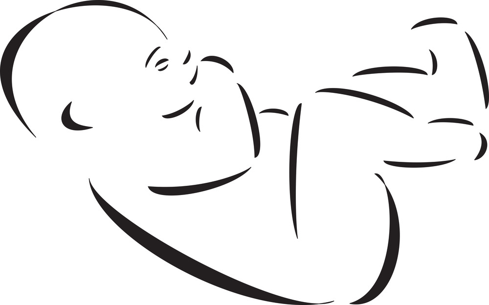 Illustration Of A Sleeping Baby.
