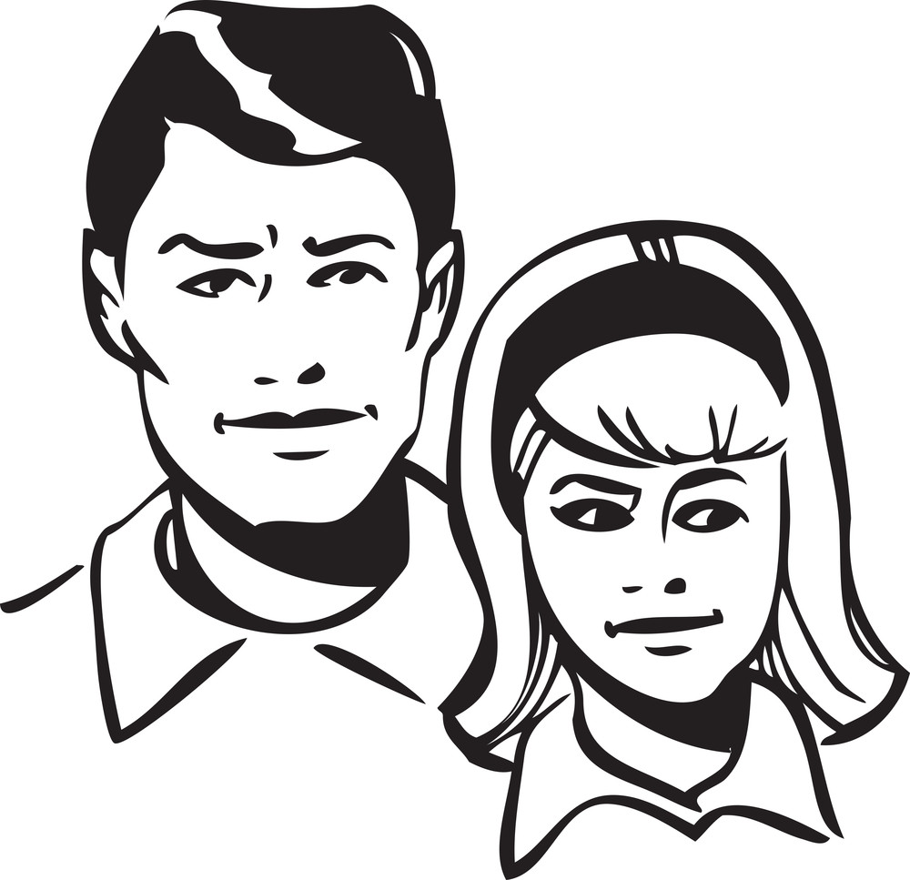 Illustration Of A Smiling Couple.