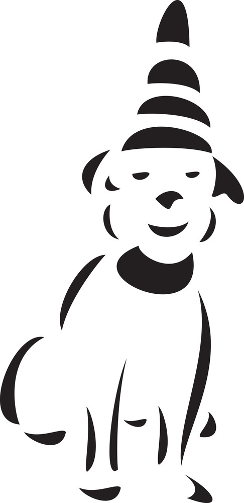 Illustration Of A Smiling Dog With Hat.