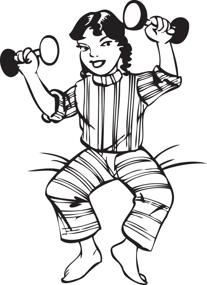 Illustration Of A Smiling Lady With Dumbbell.