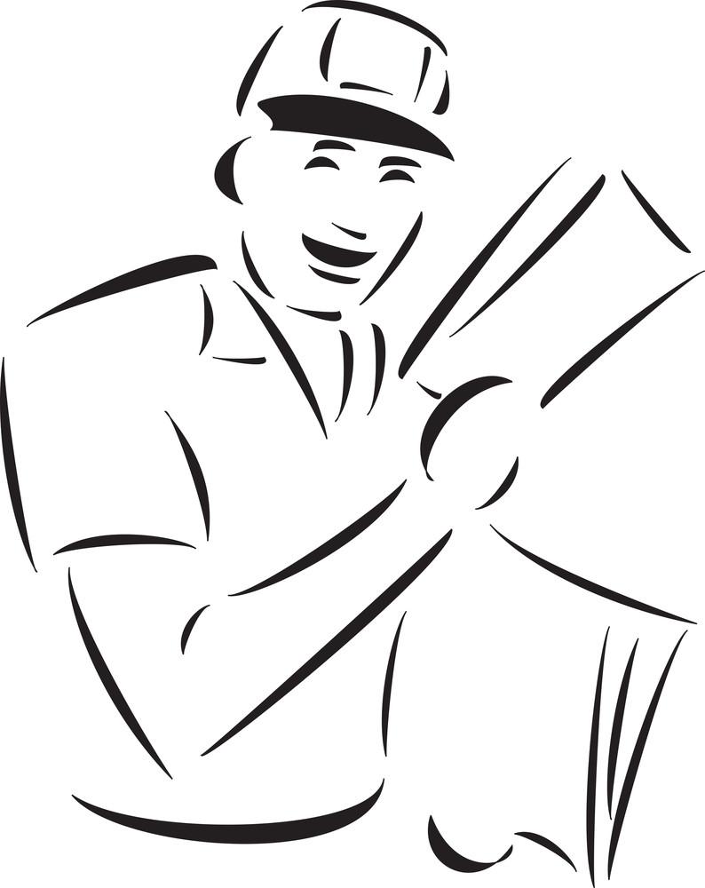 Illustration Of A Smiling Postman.