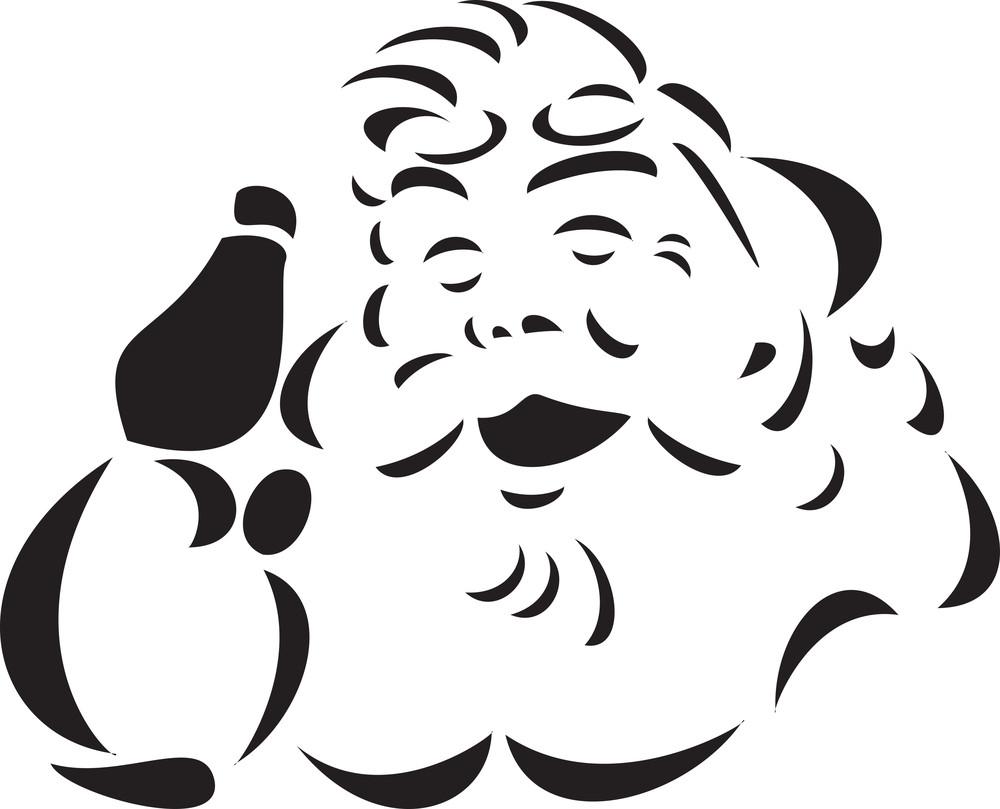 Illustration Of A Smiling Santa Claus Face.