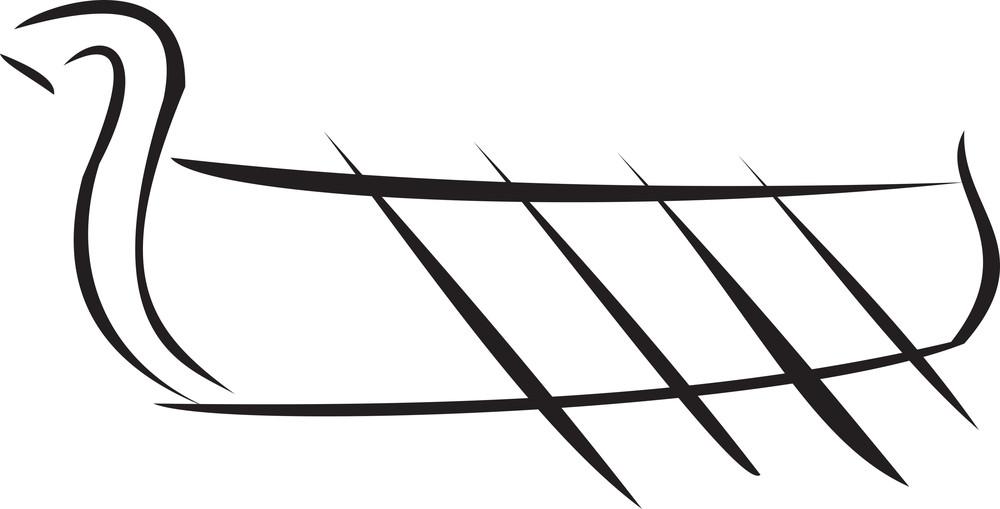 Illustration Of A Snake Boat.