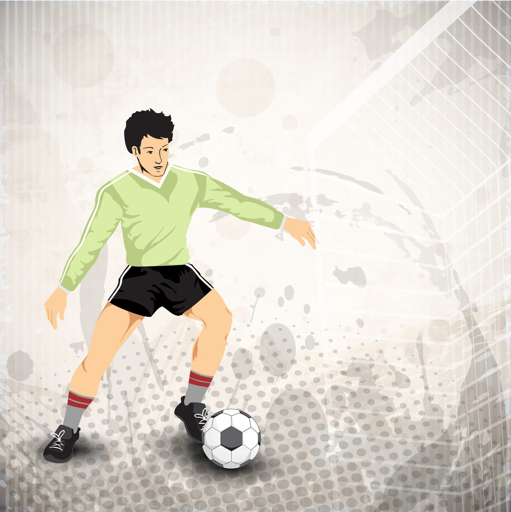 Illustration Of A Soccerball Player Playing With Soccerball On Abstract Grungy Background In Grey Color. Eps 10