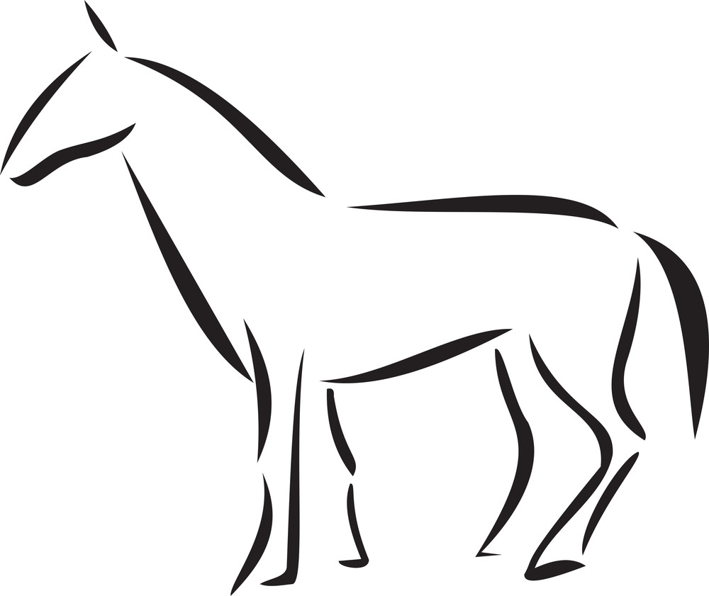 Illustration Of A Standing Horse.
