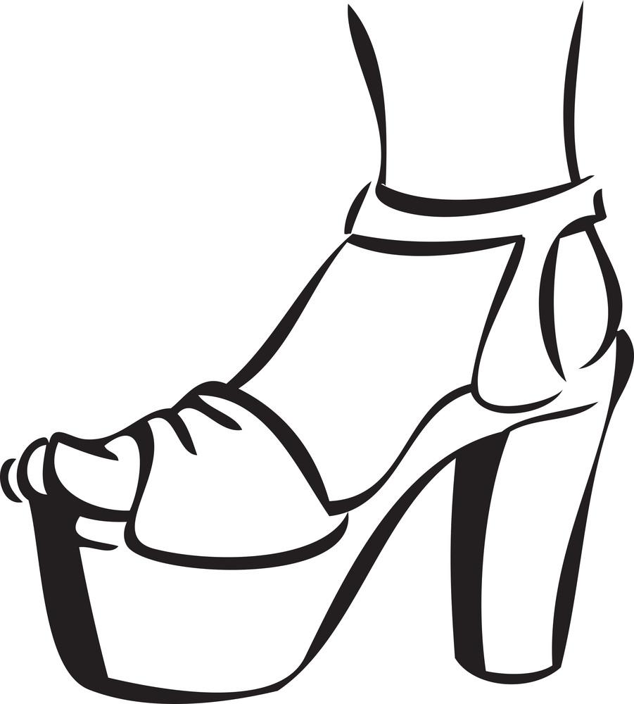 Illustration Of A Stylish Heel Sandal.