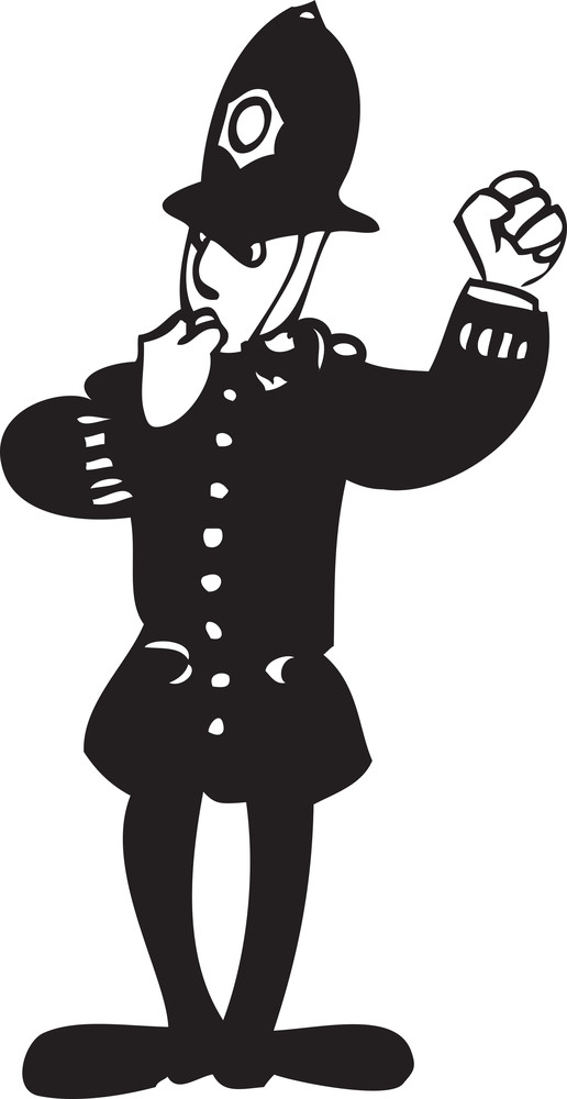 Illustration Of A Traffic Police Officer With Whistle.