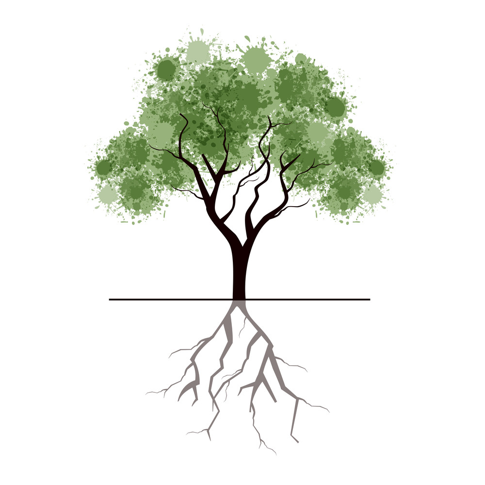 Illustration Of A Tree With Grungy Effect Isolated On White Background.