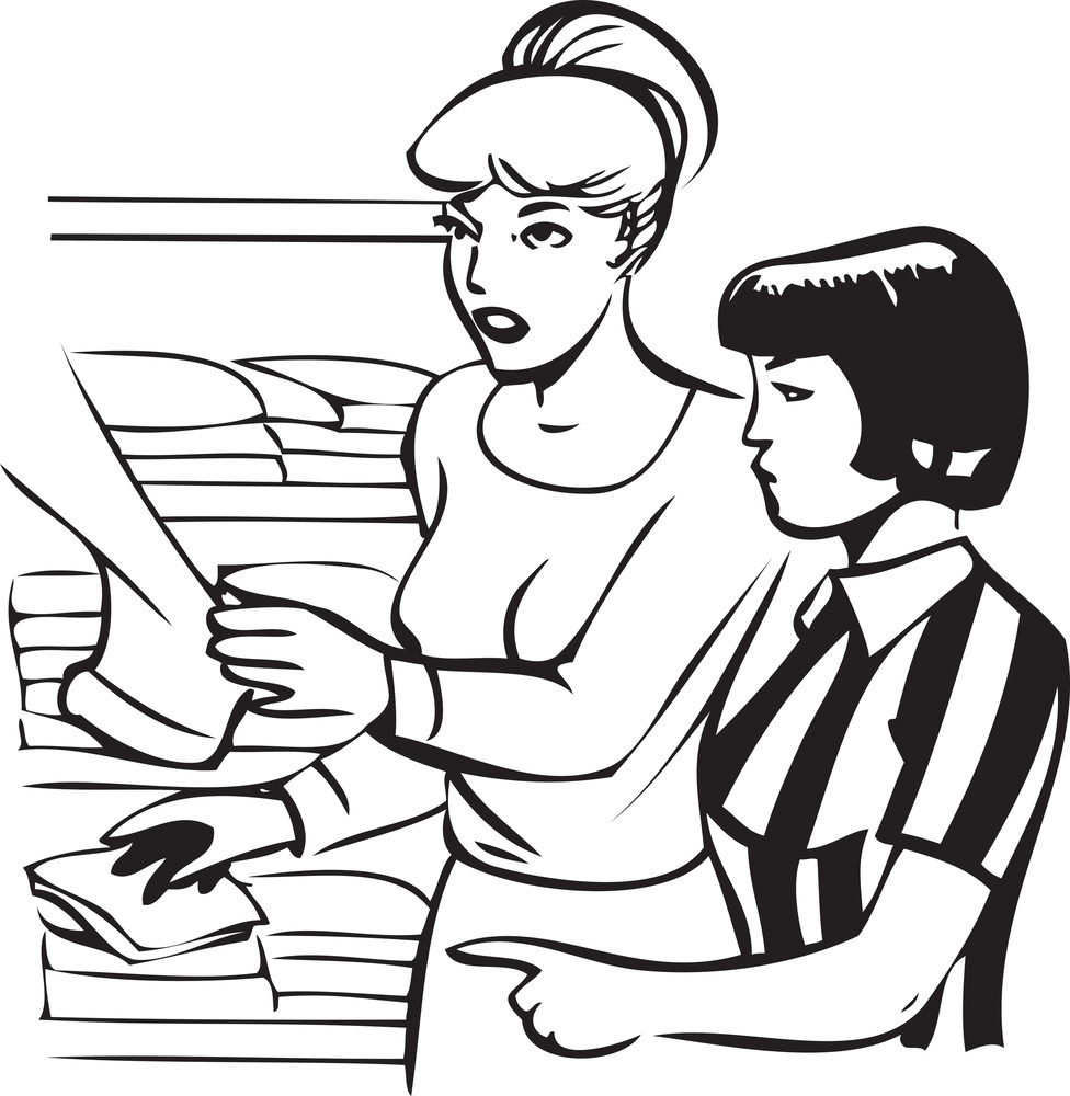 Illustration Of A Two Lady In Clothes Shop.