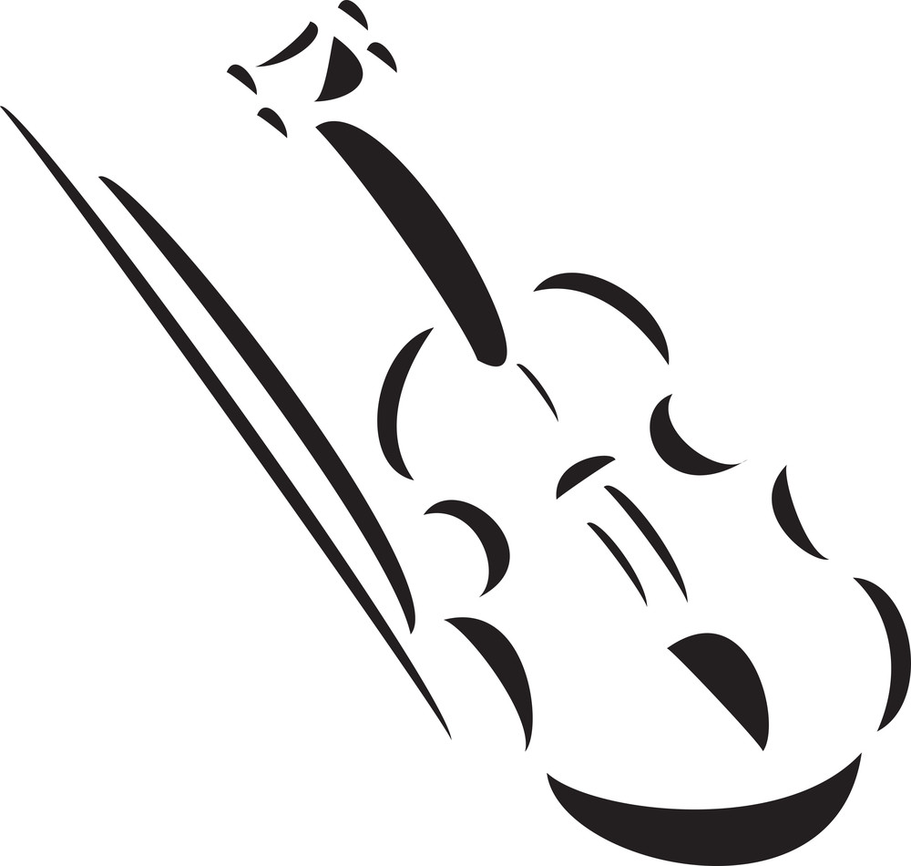 Illustration Of A Violin With Bow.
