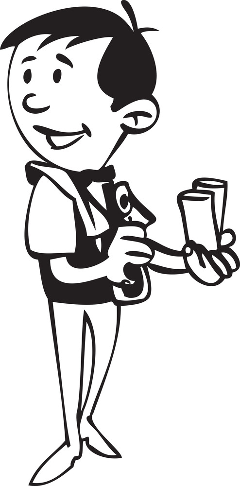 Illustration Of A Waiter With Glass.