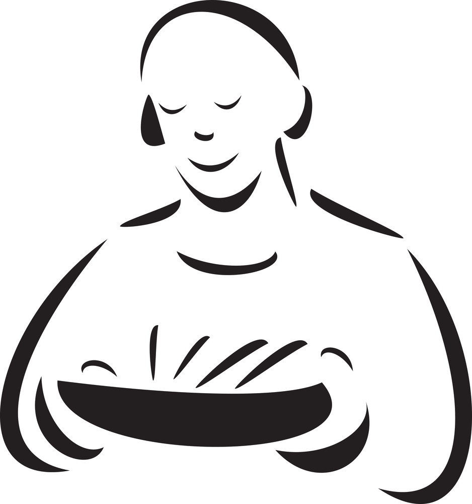 Illustration Of A Ward Boy With Food Bowl.
