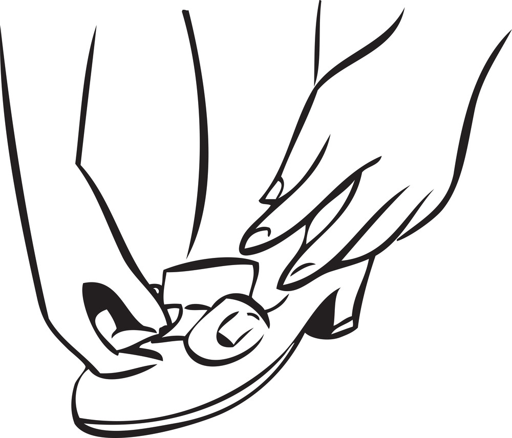 Illustration Of A Woman Wearing Sandal.