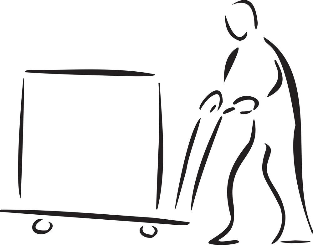 Illustration Of A Worker With Loader.