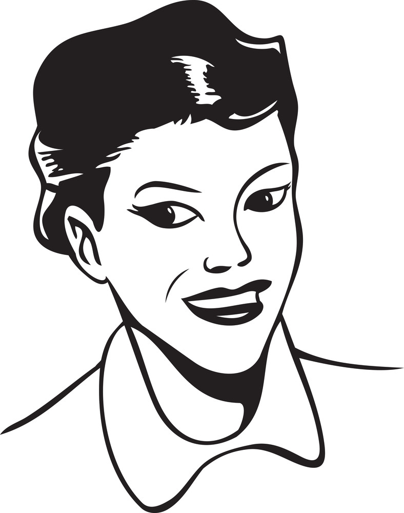 Illustration Of A Young Girl Smiling.