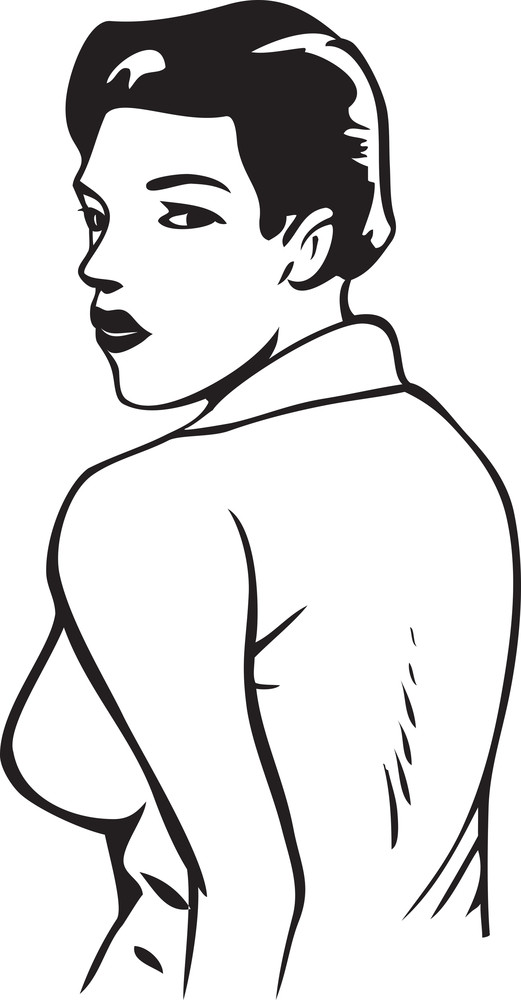 Illustration Of A Young Lady In Back Pose.