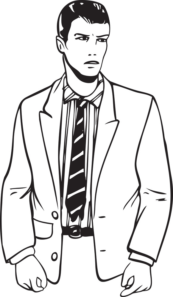 Illustration Of A Young Man In Suit.