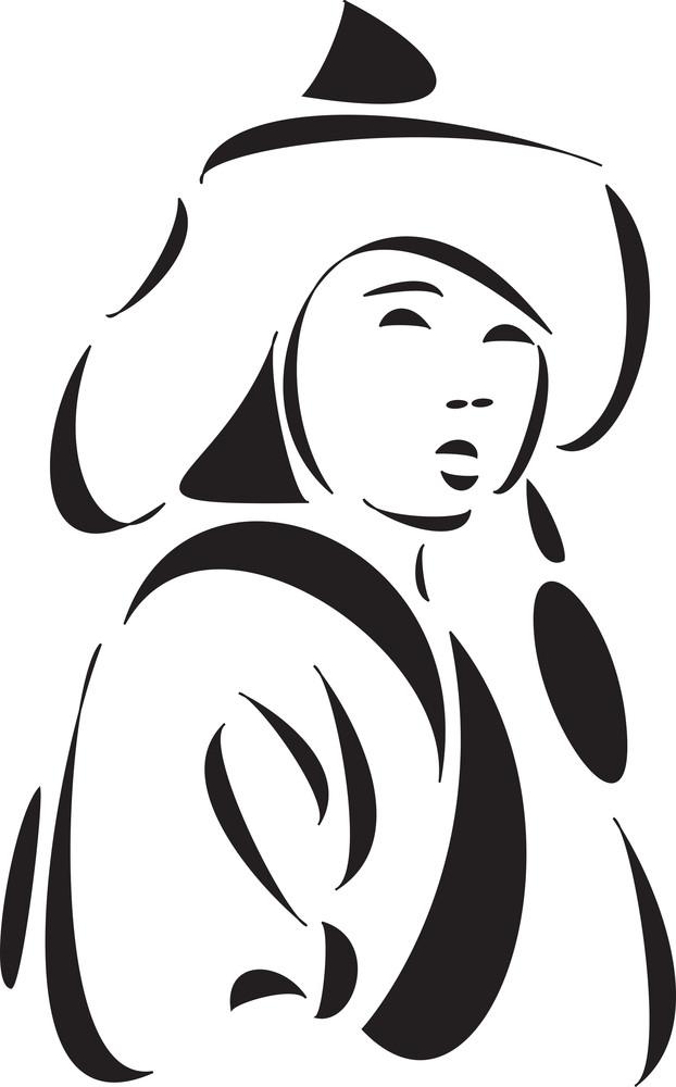 Illustration Of A Young Mangolian Lady.