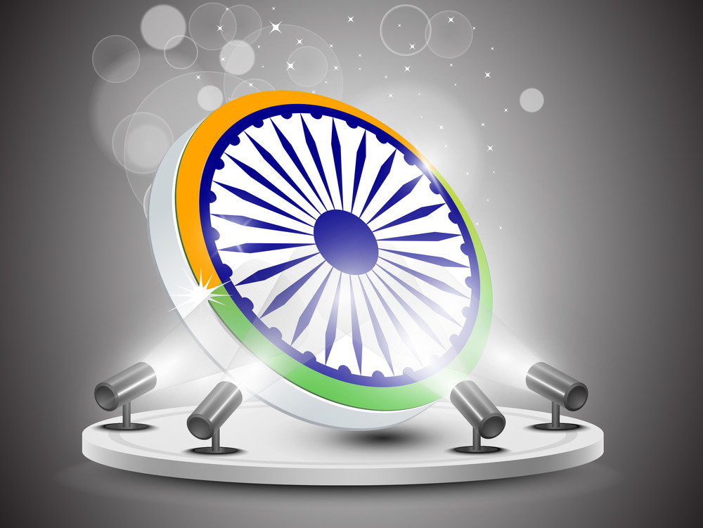 Illustration Of Abstract Tricolor Indian Flag Ashok Wheel  On Presentation Stage With Lights Background. Vector Illustration Eps10.