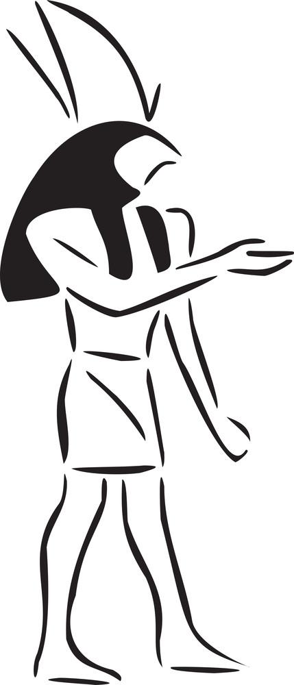 Illustration Of Ancient Egyptian God.