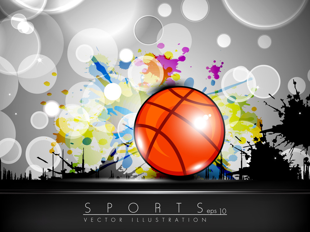 Illustration Of Basketball On Creative Colorful Grungy Grey Background With Text Space For Your Message.
