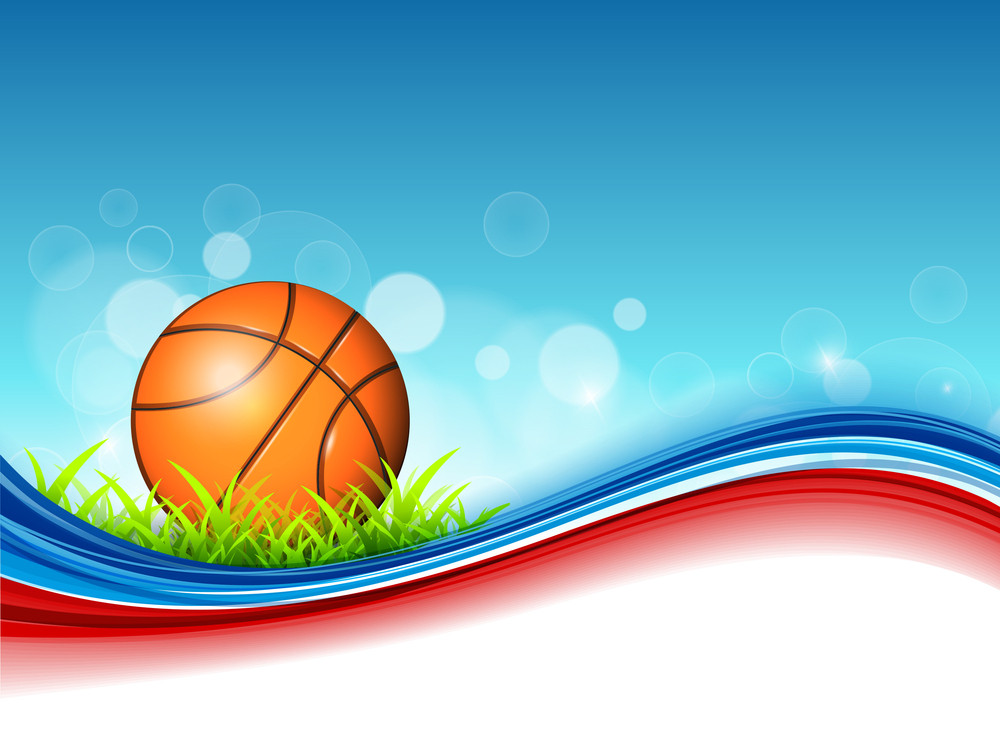 Illustration Of Basketball On Green Grass And Colorful Wave Background With Text Space For Your Message.