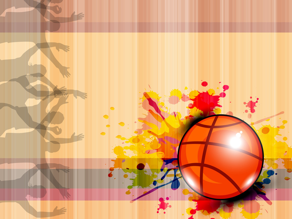 Illustration Of Basketball On Grungy Abstract Background With Text Space For Your Message.