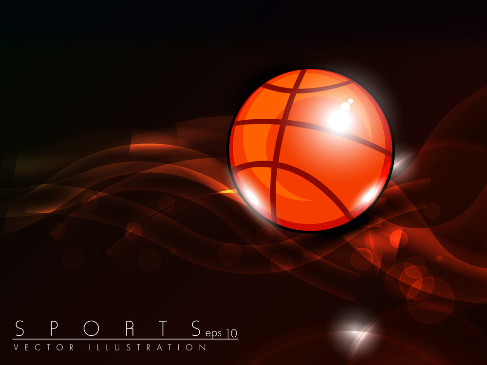 Illustration Of Basketball On Red Wave Background With Text Space For Your Message.