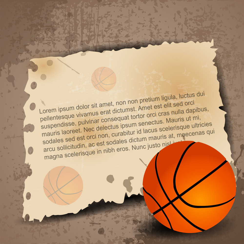 Illustration Of Basketball With Paper For Your Text On Grungy Retro Background.