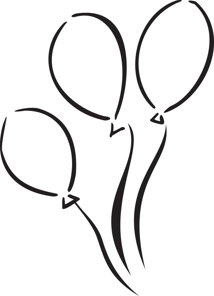 Illustration Of Birthday Balloons.