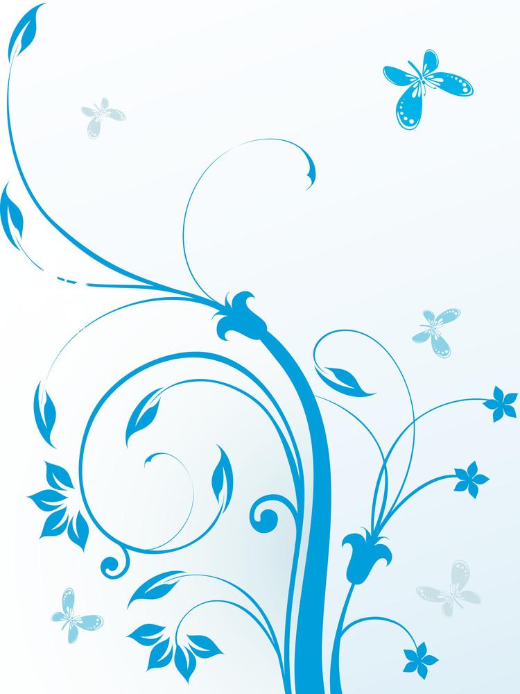 Illustration Of Blue Floral Pattern