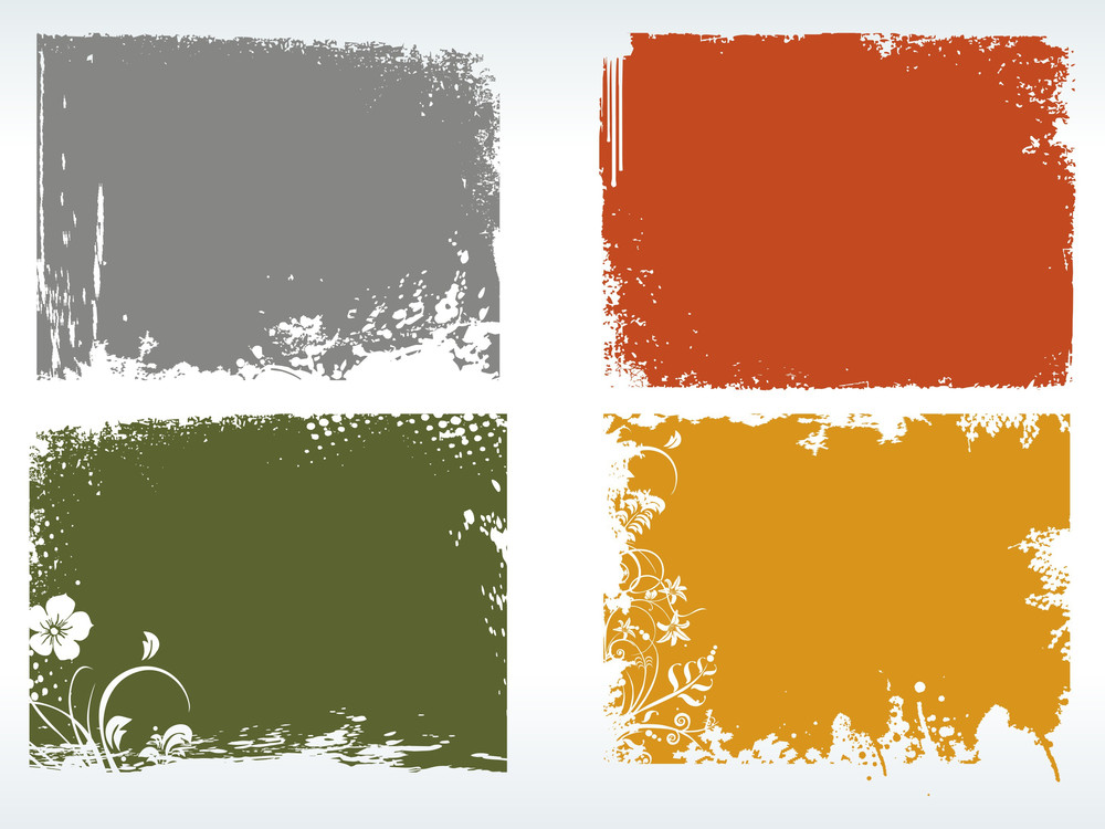 Illustration Of Colorful Grungy Frames