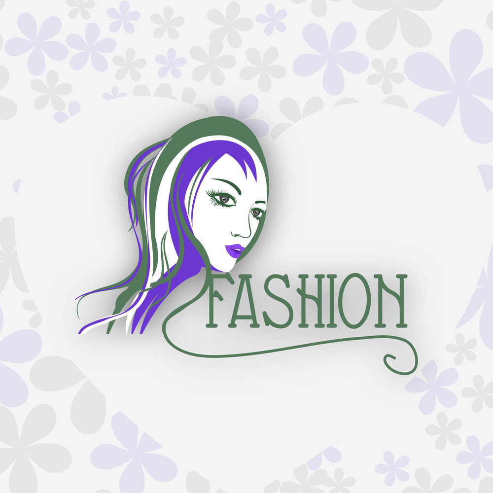 Illustration Of Fashionable Girl On Floral Decorated Background