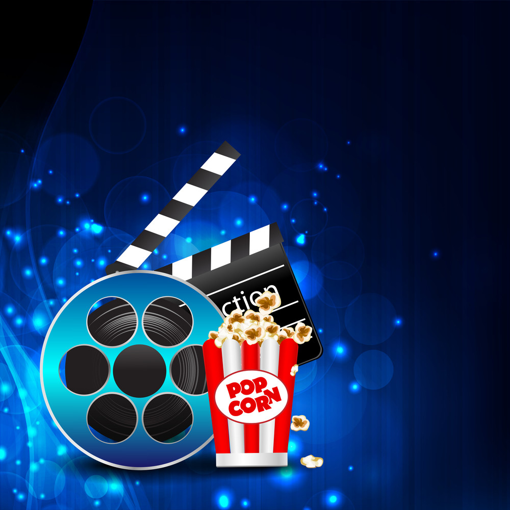 Illustration Of Film With Entertainment Object On Shiny Background